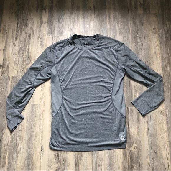 best cheap aa4dd 614ef Nike Pro Combat Gray Dri-Fit Fitted Workout Shirt.  M 5ada61e06bf5a6aa6a8cb2b8